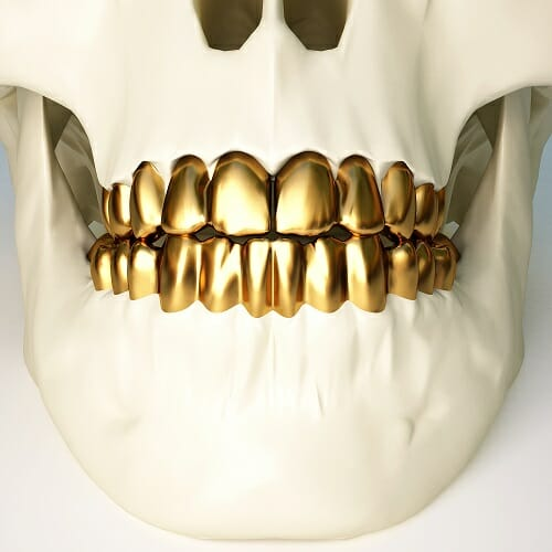 skull with gold teeth